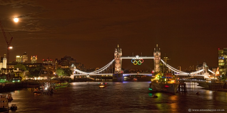 Tower Bridge, illuminated Gold to celebrate more Gold Medals for Team GB in the London 2012 Olympics