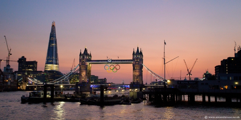 The Shard and Tower Bridge with the Olympic Rings