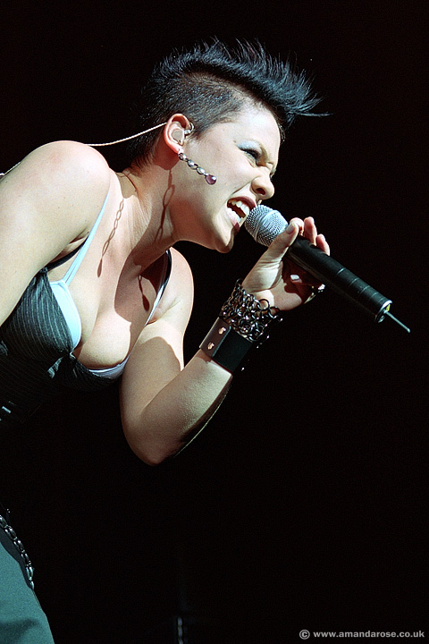 Pink, performing live at Brixton Academy, 12th November 2002